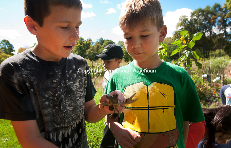 WOODBURY, CT 22 SEPTEMBER 2014-092214JS04--Zack Hellwinkle, 9, of Woodbury, left, shows off a crayfish he caught in the pond to Greg Vros, 7, of Woodbury, during a Flanders Fun Day Monday at Flanders Nature Center in Woodbury. The children explored the farm, the pond and nature trails at the center. <br /> Jim Shannon Republican-American