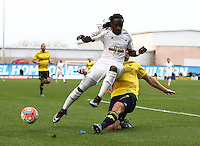 Marvin Emnes of Swansea is tackled by Joe Skarz of Oxford United   during the Emirates FA Cup 3rd Round between Oxford United v Swansea     played at Kassam Stadium  on 10th January 2016 in Oxford