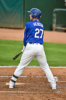 Jake Henson (27) of the Ogden Raptors at bat against the Great Falls Voyagers in Pioneer League action at Lindquist Field on July 16, 2015 in Ogden, Utah. Ogden defeated Great Falls 5-2.  (Stephen Smith/Four Seam Images)