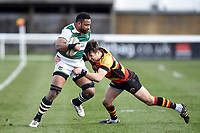 Andrew Durutalo of Ealing Trailfinders is tackled. Greene King IPA Championship match, between Richmond and Ealing Trailfinders on March 9, 2019 at the Richmond Athletic Ground in London, England. Photo by: Patrick Khachfe / Onside Images