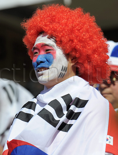 A supporter in the stands prior the FIFA World Cup 2010 group B match between Argentina and South Korea at Soccer City Stadium in Johannesburg, South Africa 17 June 2010.