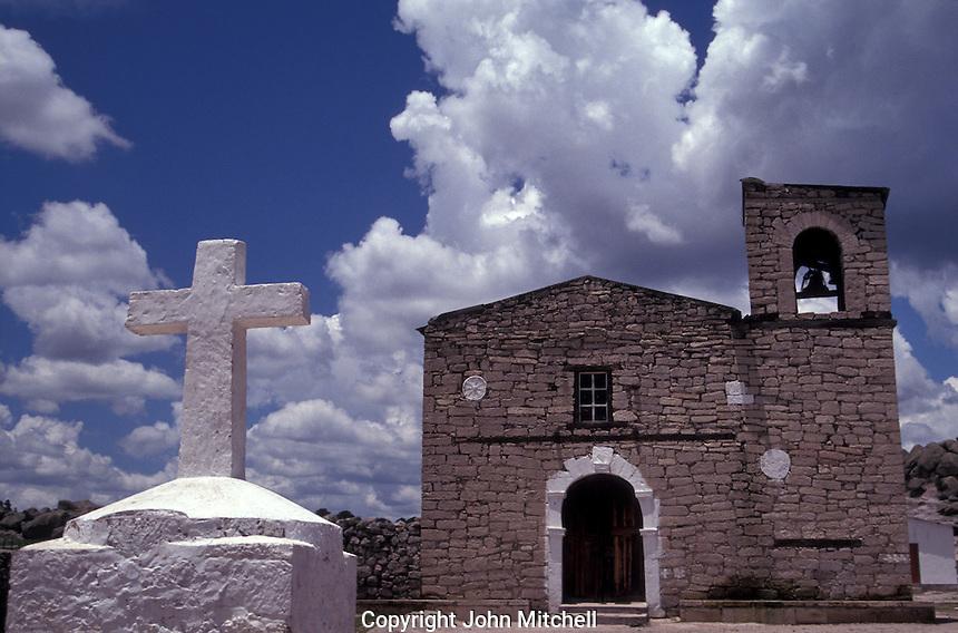 Jesuit mission church in the Tarahumara village of San Ignacio near Creel, Copper Canyon, Chihuahua, Mexico