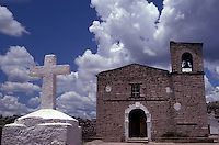 Jesuit mission church in the Tarahumara village of San Ignacio near Creel, Copper Canyon, Chihuahua, Mexico