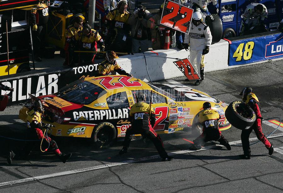 Feb 18, 2007; Daytona, FL, USA; Nascar Nextel Cup Series driver Dave Blaney (22) pits during the Daytona 500 at Daytona International Speedway. Mandatory Credit: Mark J. Rebilas