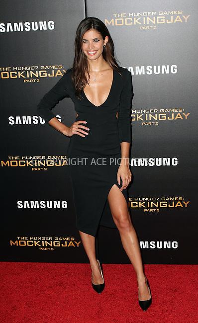 WWW.ACEPIXS.COM<br /> <br /> November 18 2015, New York City<br /> <br /> Sara Sampaio arriving at 'The Hunger Games: Mockingjay- Part 2' New York Premiere at AMC Loews Lincoln Square on November 18, 2015 in New York City.<br /> <br /> By Line: Nancy Rivera/ACE Pictures<br /> <br /> <br /> ACE Pictures, Inc.<br /> tel: 646 769 0430<br /> Email: info@acepixs.com<br /> www.acepixs.com