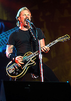 James Hetfield of Metallica performs at the Los Angeles Memorial Coliseum during the 2003 Summer Sanitarium Tour