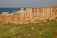 Apollonia, Shahaat, Libya -- Byzantine Central Church, Mediterranean in Background
