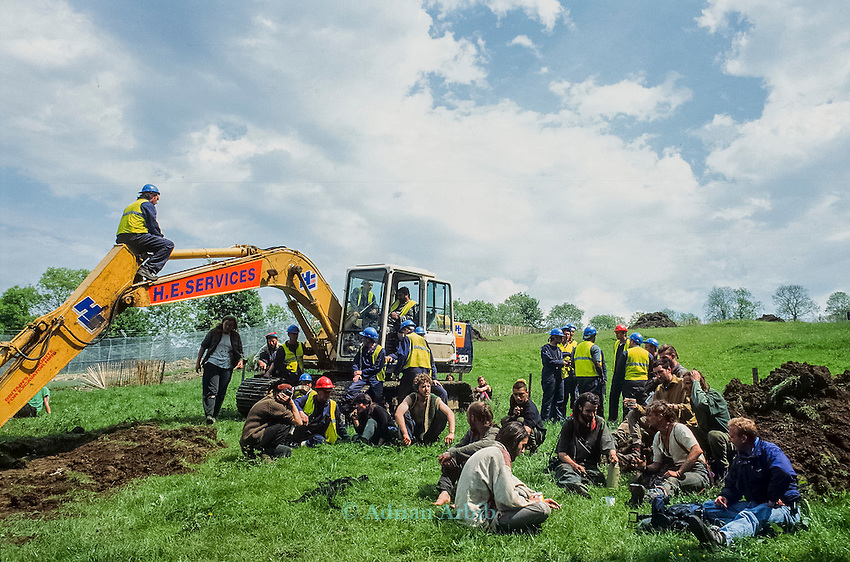 Protesters stop earth moving machinery<br /> Solsbury Hill road protest.