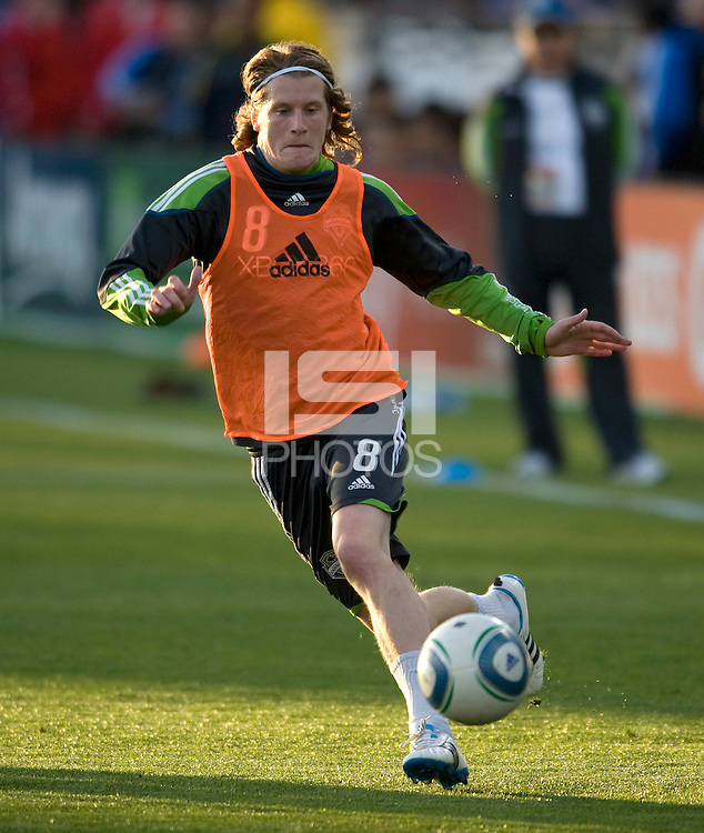 Erik Friberg of Sounders warms up during practice before the game against the Earthquakes at Buck Shaw Stadium in Santa Clara, California on April 2nd, 2011.   San Jose Earthquakes and Seattle Sounders are tied 2-2.