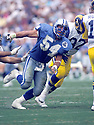 Detroit Lions Chris Spielman(54) in action during a game from the 1993 season against the Los Angeles Rams at Anaheim Stadium in Anaheim, California on October 24, 1993.  The Lions beat the Rams 16-13.  Chris Spielman played for 10 years and was a 4-time Pro Bowler.