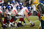 New York Giants offensive linemen line up during an NFL divisional playoff football game against the Green Bay Packers on January 15, 2012 in Green Bay, Wisconsin. The Giants won 37-20. (AP Photo/David Stluka)