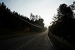 September 13, 2007, Louisburg, NC..Sunrise on the road leading to Mae Farms, a sustainable hog farm  owned by Michael Jones, near Henderson, NC.
