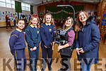 Pres Tralee NS students with the RTE camera woman and director who were recording at the school on Tuesday.<br /> L to r: Georgina Kennedy, Ella O&rsquo;Donoghue, Chelsea Molyneaux, Elenor Bowman (Camera operator) and Anna Rodgers (RTE Director).