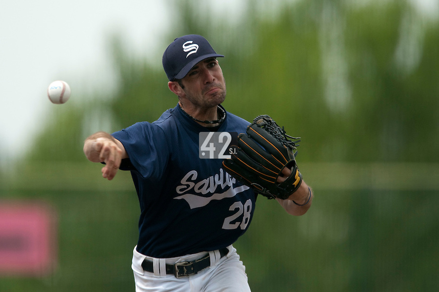23 May 2009: Pierrick Lemestre of Savigny pitches against Senart during the 2009 challenge de France, a tournament with the best French baseball teams - all eight elite league clubs - to determine a spot in the European Cup next year, at Montpellier, France. Savigny wins 4-1 over Senart.
