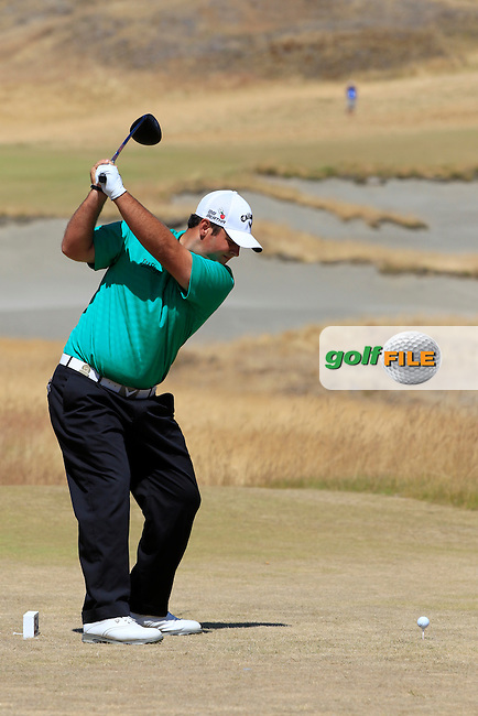 Patrick Reed (USA) tees off the 7th tee during Sunday's Final Round of the 2015 U.S. Open 115th National Championship held at Chambers Bay, Seattle, Washington, USA. 6/21/2015.<br /> Picture: Golffile | Eoin Clarke<br /> <br /> <br /> <br /> <br /> All photo usage must carry mandatory copyright credit (&copy; Golffile | Eoin Clarke)