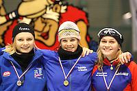 SCHAATSEN: HEERENVEEN: IJsstadion Thialf, 07-03-2008, VikingRace, Hege Bøkko (NOR), Inge Bervoets (NED), Irene Schouten (NED), ©foto Martin de Jong