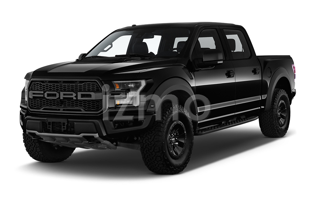 2018 Ford F-150 Raptor 4 Door Pick Up angular front stock photos of front three quarter view