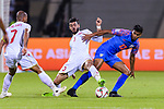 Waleed Mohamed Alhayam of Bahrain (C) fights for the ball with Muhammed Ashique Kuruniyan of India (R) during the AFC Asian Cup UAE 2019 Group A match between India (IND) and Bahrain (BHR) at Sharjah Stadium on 14 January 2019 in Sharjah, United Arab Emirates. Photo by Marcio Rodrigo Machado / Power Sport Images