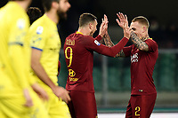 Edin Dzeko of AS Roma celebrates with Rick Karsdorp after scoring goal of 0-2 <br /> Verona 8-2-2019 Stadio Bentegodi Football Serie A 2018/2019 Chievo Verona - AS Roma <br /> Foto Image Sport / Insidefoto