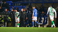 29th January 2020; McDairmid Park, Perth, Perth and Kinross, Scotland; Scottish Premiership Football, St Johnstone versus Celtic; Celtic Manager Neil Lennon pauses a substitution to check on the injury of Mikey Johnston of Celtic