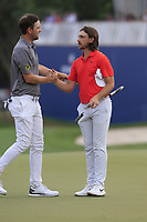 Bernd Wiesberger (AUT) and  Tommy Fleetwood (ENG) on the 18th during the 1st round of the DP World Tour Championship, Jumeirah Golf Estates, Dubai, United Arab Emirates. 21/11/2019<br /> Picture: Golffile | Fran Caffrey<br /> <br /> <br /> All photo usage must carry mandatory copyright credit (© Golffile | Fran Caffrey)
