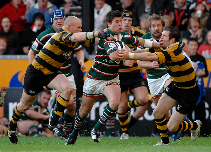 Photo: Richard Lane..Leicester Tigers A v London Wasps A. Guinness A League Final. 07/05/2007. .Tigers' Ben Youngs is tackled by Wasps' Jonny O'Connor and David Doherty.