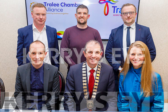 The members of the Committee of Tralee Chamber Alliance at their AGM in the Rose Hotel on Tuesday night. <br /> Seated l to r: Paul Ruane, Kevin McCarthy (President) and Heather O'Sullivan (Chairperson).<br /> Back l to r: Brian Stevenson, Sean O'Shea and Ken Tobin.