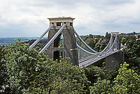 Technology: Bristol--Clifton Suspension Bridge, 1829-1854.  Isambard Kingdom Brunel. Span--500 feet. Spanned Avon Gorge.