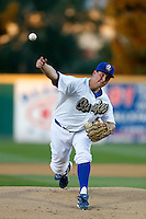 Duke Von Schamann #47 of the Rancho Cucamonga Quakes pitches against the Modesto Nuts at The Epicenter on April 9, 2013 in Rancho Cucamonga, California. Rancho Cucamonga defeated Modesto, 1-0. (Larry Goren/Four Seam Images)