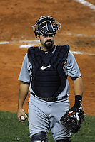 Detroit Tigers catcher Alex Avila #13 during ALDS game #5 against the New York Yankees at Yankee Stadium on October 06, 2011 in Bronx, NY.  Detroit defeated New York 3-2 to take the series 3 games to 2 games.  Tomasso DeRosa/Four Seam Images