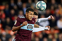 1st February 2020; Mestalla, Valencia, Spain; La Liga Football,Valencia versus Celta Vigo; Jeison Murillo of Celta wins the header from Rodrigo Moreno of Valencia CF
