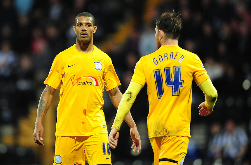Preston North End's Jermaine Beckford, left, and Preston North End's Joe Garner<br /> <br /> Photographer Chris Vaughan/CameraSport<br /> <br /> Football - The Football League Sky Bet League One - Notts County v Preston North End - Tuesday 21st April 2015 - Meadow Lane - Nottingham<br /> <br /> &copy; CameraSport - 43 Linden Ave. Countesthorpe. Leicester. England. LE8 5PG - Tel: +44 (0) 116 277 4147 - admin@camerasport.com - www.camerasport.com