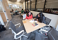 Photos taken of the Writing Center on Feb. 15, 2019 on the Ground Floor of the Academic Commons. The Writing Center offers students from all disciplines two types of support to work on their writing: peer-to-peer, drop-in consultations with knowledgeable Writing Advisers and appointments with Faculty Writing Specialists from the Writing and Rhetoric department.<br /> (Photo by Marc Campos, Occidental College Photographer)