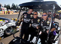 Aug. 4, 2013; Kent, WA, USA: NHRA pro stock driver Vincent Nobile celebrates with crew after winning the Northwest Nationals at Pacific Raceways. Mandatory Credit: Mark J. Rebilas-USA TODAY Sports