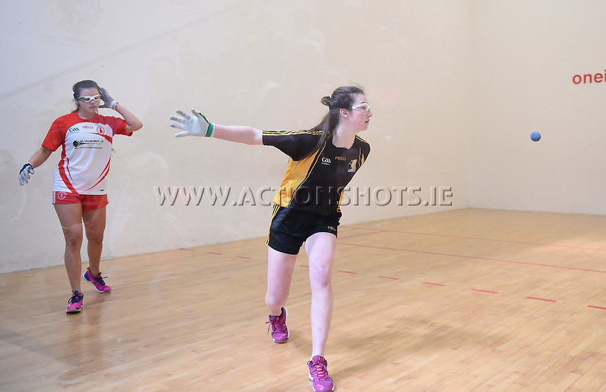19/03/2018; 40x20 All Ireland Juvenile Championships Finals 2018; Kingscourt, Co Cavan;<br /> Girls Under-14 Singles; Kilkenny (Amy Brennan) v Tyrone (Clodagh Munroe)<br /> Photo Credit: actionshots.ie/Tommy Grealy