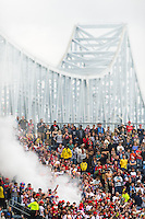 New York Red Bulls fans celebrate a goal during the first half against the Philadelphia Union during a Major League Soccer (MLS) match at PPL Park in Chester, PA, on October 27, 2012.
