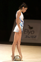 Anahi Sosa of Argentina prepares to begin with ball during exhibition before competition at 2006 Thiais Grand Prix in Paris, France on March 25, 2006.  (Photo by Tom Theobald)