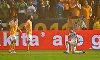 CARSON, CA - November 20, 2011: LA Galaxy midfielder Landon Donovan (10) celebrates the Galaxy victory after the MLS Cup match between LA Galaxy and Houston Dynamo at the Home Depot Center in Carson, California. Final score LA Galaxy 1, Houston Dynamo 0.