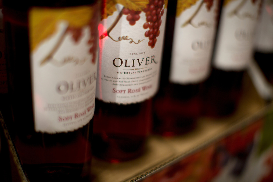 A display of Oliver Soft Rose Wine is seen during Oliver Winery's Harvest Wine Festival on Saturday, Sept.. 25, 2014. (Photo by James Brosher)