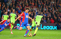 Lee Chung-yong of Crystal Palace holds off Sadio Mane of Liverpool during the EPL - Premier League match between Crystal Palace and Liverpool at Selhurst Park, London, England on 29 October 2016. Photo by Steve McCarthy.