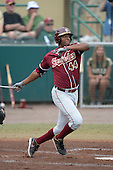 Florida State Seminoles designated hitter / relief pitcher Jameis Winston (44) hits a double during a game against the South Florida Bulls on March 5, 2014 at Red McEwen Field in Tampa, Florida.  Florida State defeated South Florida 4-1.  (Copyright Mike Janes Photography)