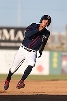 Carlos Correa #1 of the Lancaster JetHawks runs the bases during a game against the Inland Empire 66ers at The Hanger on May 26, 2014 in Lancaster, California. Lancaster defeated Inland Empire, 6-5. (Larry Goren/Four Seam Images)
