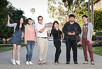 "From left, Lyra Yu '18, Shuyi ""Eliza"" Chen '17, Nick Yeh '17, Yiyun ""Eva"" Wang '17, Huntington Wu '19 and Chenli ""Henry"" Yuan '18 strike a pose near the quad, March 17, 2016.<br />