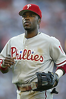 Jimmy Rollins of the Philadelphia Phillies during a 2002 MLB season game against the Los Angeles Dodgers at Dodger Stadium, in Los Angeles, California. (Larry Goren/Four Seam Images)
