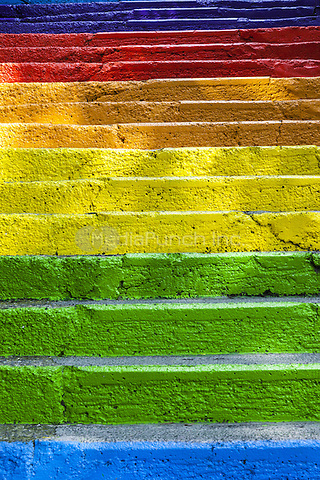 Colourful painted steps, Karakoy region, Istanbul, Turkey  May 2015.<br /> CAP/MEL<br /> &copy;MEL/Capital Pictures /MediaPunch ***NORTH AND SOUTH AMERICA ONLY***