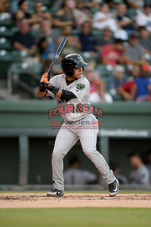 Third baseman Anyesber Sivira (40) of the Augusta GreenJackets bats in a game against the Greenville Drive on Thursday, August 29, 2019, at Fluor Field at the West End in Greenville, South Carolina. Augusta won, 11-0. (Tom Priddy/Four Seam Images)