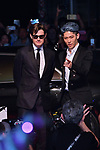 "Actor Sam Riley(L) and Japanese guitarist Miyavi attend the Japan premiere for ""Maleficent: Mistress of Evil"" at Roppongi Hills Arena in Tokyo, Japan on October 3, 2019. (Photo by AFLO)"
