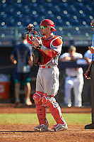 Scottsdale Scorpions Taylor Ward (9), of the Los Angeles Angels of Anaheim organization, during a game against the Peoria Javelinas on October 22, 2016 at Peoria Stadium in Peoria, Arizona.  Peoria defeated Scottsdale 3-2.  (Mike Janes/Four Seam Images)
