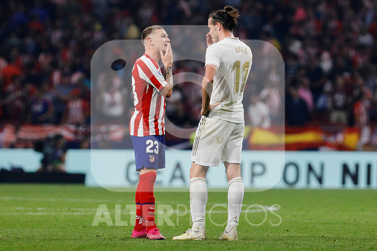 Kieran Trippier of Atletico de Madrid and Gareth Bale of Real Madrid during La Liga match between Atletico de Madrid and Real Madrid at Wanda Metropolitano Stadium in Madrid, Spain. September 28, 2019. (ALTERPHOTOS/A. Perez Meca)