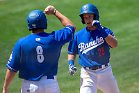 Rancho Cucamonga Quakes Rylan Bannon (25) gets a fist-bump from Nick Yamall (8) after hitting his tenth home run of the season at LoanMart Field on May 28, 2018 in Rancho Cucamonga, California. The Storm defeated the Quakes 8-5.  (Donn Parris/Four Seam Images)